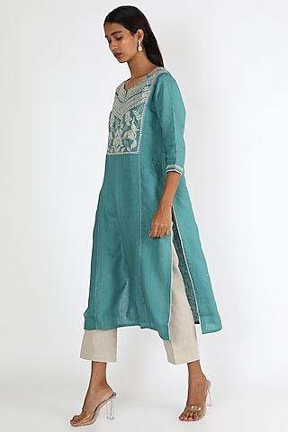 Turquoise Embroidered Tunic by Linen And Linens