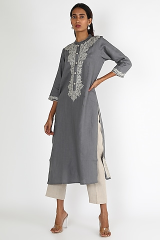 Grey Embroidered Tunic by Linen And Linens