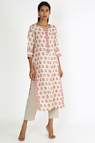 Pink & White Printed Tunic by Linen And Linens