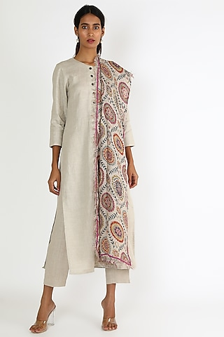 Off White Tunic With Scarf by Linen And Linens