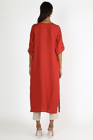 Red Tunic With Printed Scarf by Linen And Linens