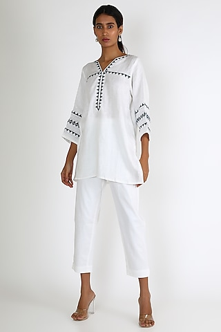 White Embroidered Shirt by Linen And Linens