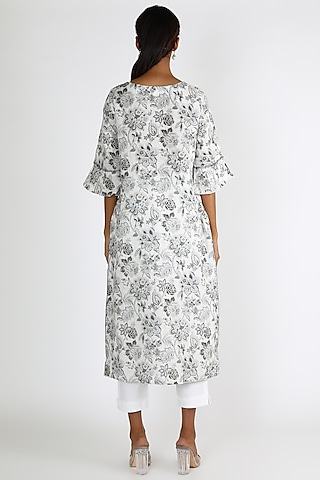 White & Black Printed Tunic by Linen And Linens