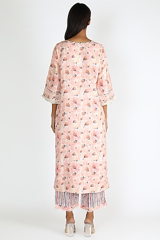 Coral Printed Tunic Set by Linen And Linens