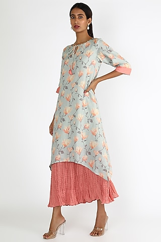 Powder Blue & Pink Printed Double Layered Dress by Linen And Linens