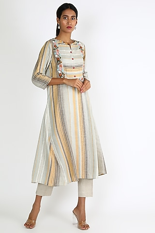 Mustard & Grey Embroidered Dress by Linen And Linens