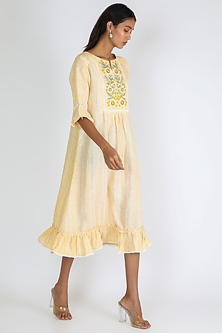 Yellow Embroidered Dress by Linen And Linens