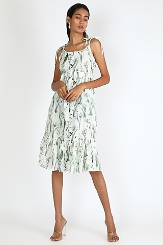 White Printed Tie-Up Dress by Linen And Linens