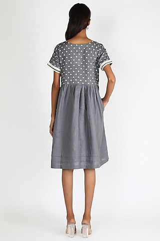 Grey Embroidered Dress by Linen And Linens