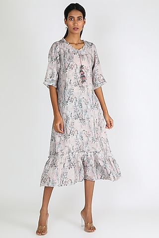 White Printed Dress by Linen And Linens