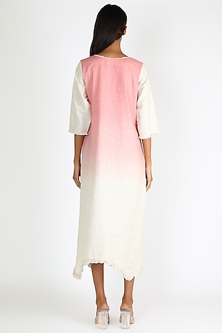 Pink Ombre Embroidered Dress by Linen And Linens