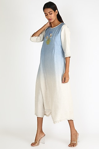 Sky Blue Ombre Embroidered Dress by Linen And Linens