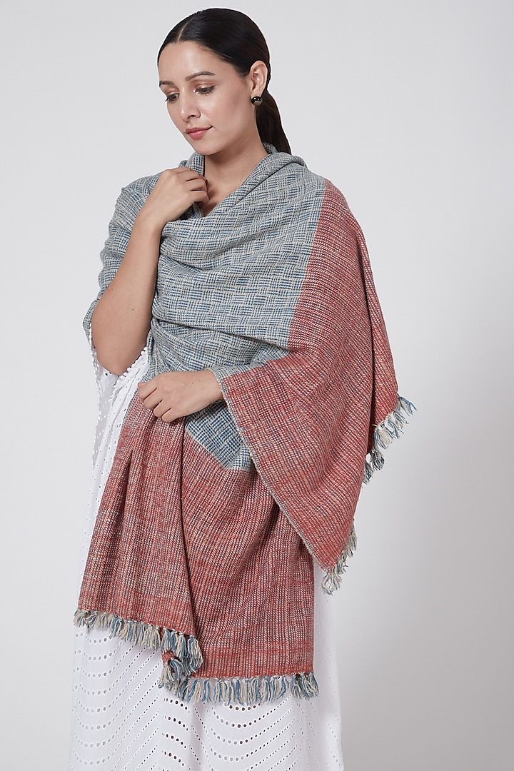 Madder Red & Indigo Dyed Pashmina Shawl by Lena Ladakh Pashmina