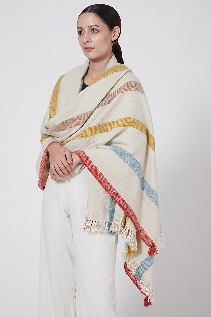 White Handwoven Striped Pashmina Shawl by Lena Ladakh Pashmina
