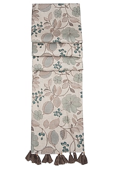 Linen Gray Printed Stole by Linen and Linens