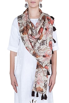 Orange and brown printed stole by Linen and Linens