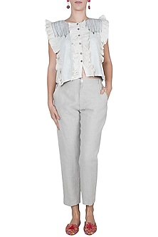 Linen Gray Cropped Pants by Linen and Linens