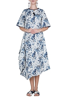 White and blue floral printed dress by Linen and Linens