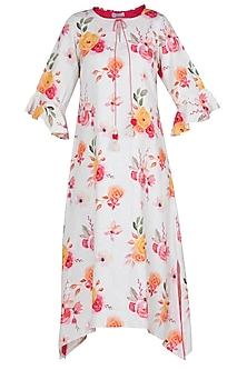 White floral printed tassel dress by Linen and Linens