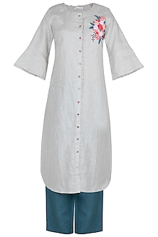 Off white embroidered front open tunic by Linen and Linens