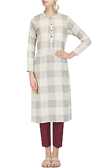 Natural Checkered Tunic and Pants Set by Linen and Linens