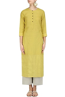 Mustard Yellow Tunic, Pants and Printed Stole Set by Linen and Linens