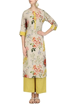 Natural Floral Printed Tunic and Yellow Pants by Linen and Linens