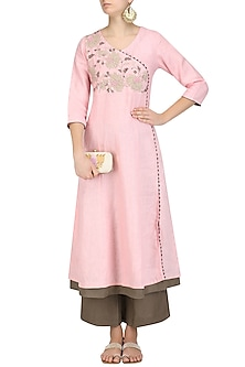 Pink Dori Embroidered Kurta and Brown Pants Set by Linen and Linens