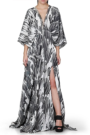 Black & Grey Embroidered Printed Kaftan Maxi Dress by Limerick By Abirr N' Nanki
