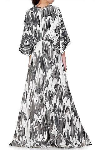 Black & Grey Embroidered Printed Kaftan Maxi Dress by Limerick By Abirr N' Nanki