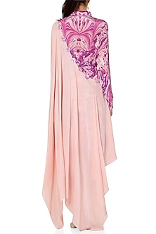Purple & Pink Embroidered Printed Shirt Dress by Limerick By Abirr N' Nanki