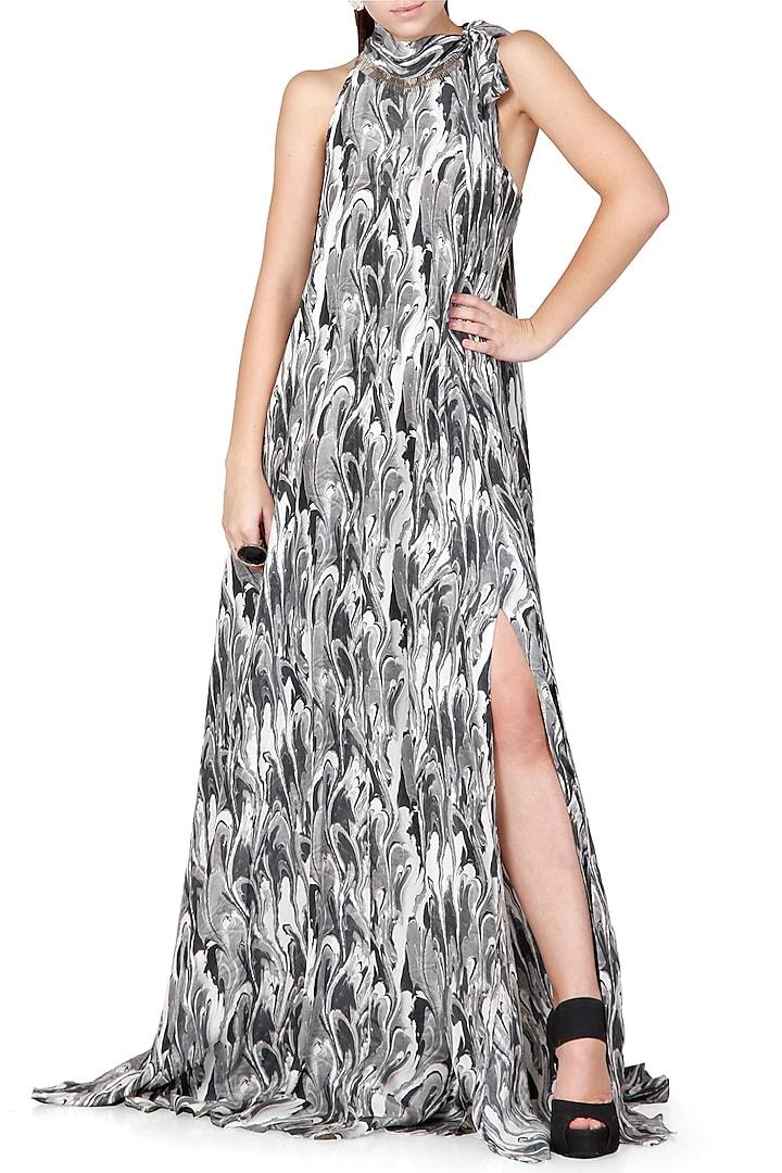 Black & Grey Printed Dress With Tie-Up Collar by Limerick By Abirr N' Nanki