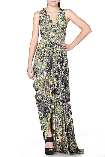 Green & Grey Embroidered Draped Dress With Print by Limerick By Abirr N' Nanki