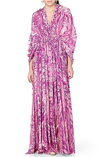 Purple Printed Cape Style Jacket Dress by Limerick By Abirr N' Nanki