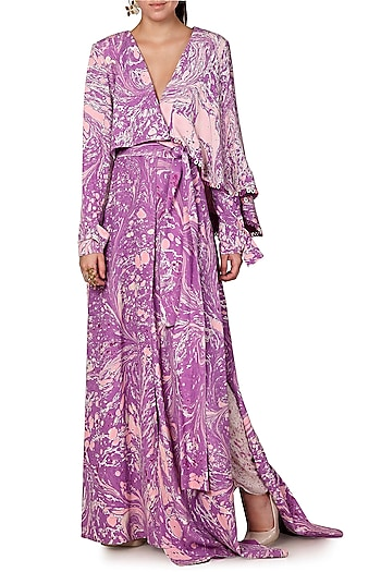 Purple & Ivory Digital Printed Skirt by Limerick By Abirr N' Nanki