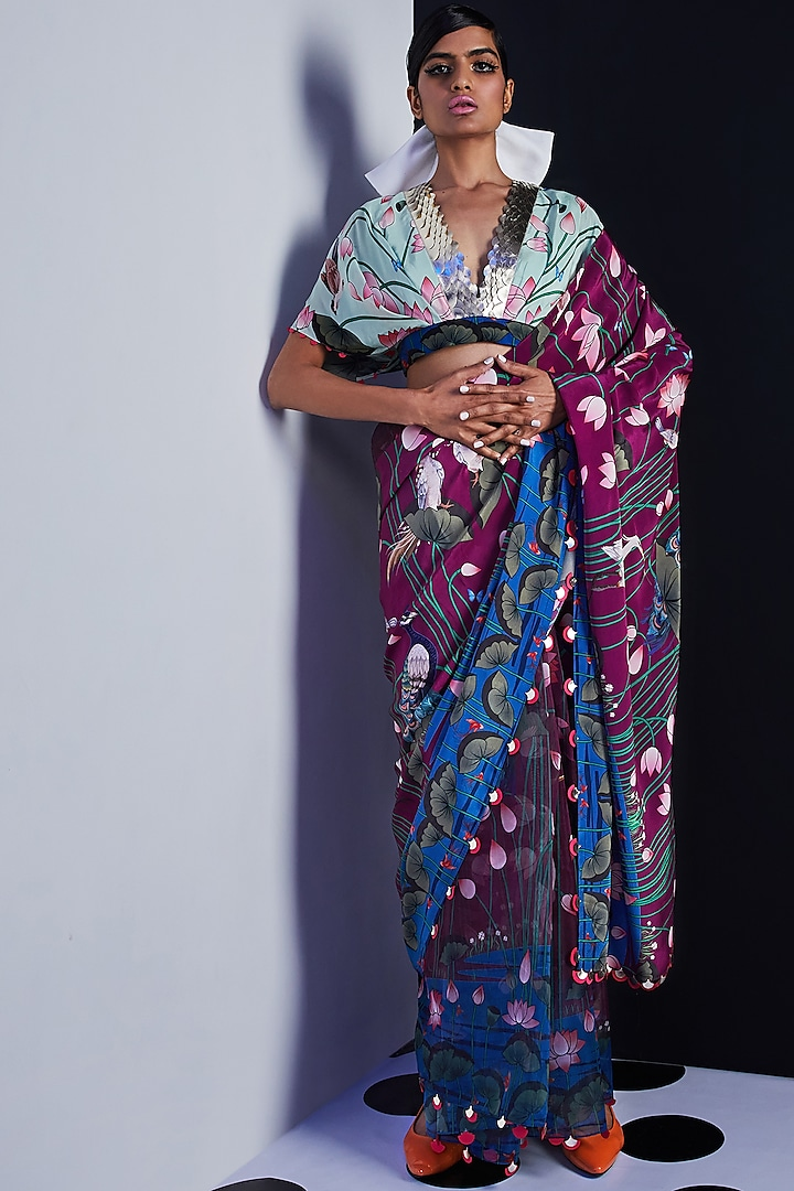 Purple Embroidered & Printed Saree by Limerick By Abirr N' Nanki