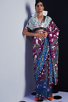 Purple Embroidered & Printed Saree by Limerick By Abirr N' Nanki-LIMERICK BY ABIRR N' NANKI