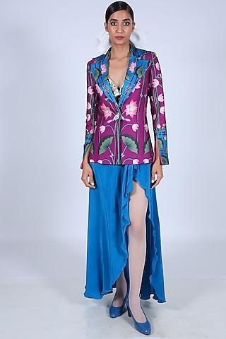 Blue Crepe Draped Skirt by Limerick By Abirr N' Nanki