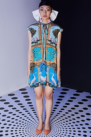 Blue Printed & Embroidered Dress by Limerick By Abirr N' Nanki