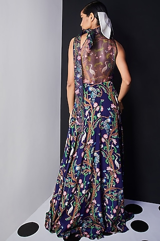 Navy Blue Embroidered Maxi dress by Limerick By Abirr N' Nanki