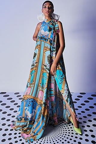 Blue Hand Embroidered Maxi Dress by Limerick By Abirr N' Nanki