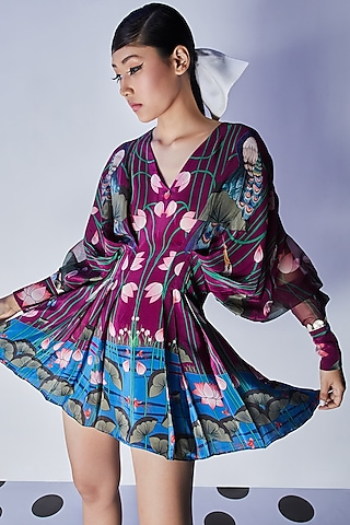 Purple Embroidered Draped Dress by Limerick By Abirr N' Nanki