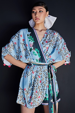 Indigo Blue Embroidered Playsuit by Limerick By Abirr N' Nanki