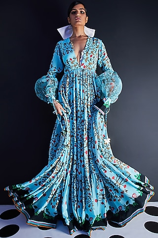 Blue Embroidered & Printed Maxi Dress by Limerick By Abirr N' Nanki