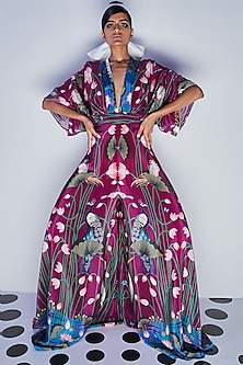 Purple Embroidered Draped Jumpsuit by Limerick By Abirr N' Nanki-LIMERICK BY ABIRR N' NANKI