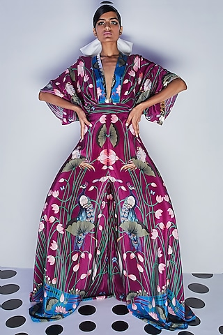 Purple Embroidered Draped Jumpsuit by Limerick By Abirr N' Nanki