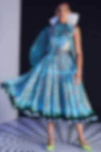 Blue Crepe Printed Skirt by Limerick By Abirr N' Nanki