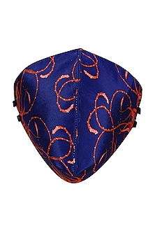 Royal Blue Printed Antimicrobial Mask With Zip Pouch by Limerick By Abirr N' Nanki