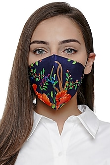 Navy Blue Printed Antimicrobial Mask With Zip Pouch by Limerick By Abirr N' Nanki