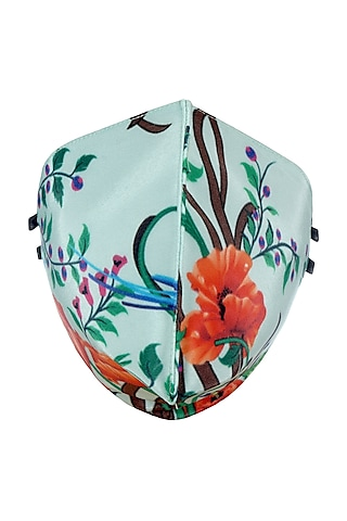 Pista Green Printed Antimicrobial Mask With Zip Pouch by Limerick By Abirr N' Nanki